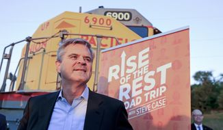 """ADVANCE FOR USE SATURDAY, JULY 1, AND THEREAFTER – FILE – In this Oct. 3, 2016, file photo, Steve Case, co-founder and former chairman and CEO of AOL Inc., poses in front of a Union Pacific locomotive as he kicks off his """"Rise of the Rest"""" startup bus tour in Omaha, Neb. As part of his """"Rise of the Rest"""" bus tour to invest in entrepreneurs and startup firms, Case plans to visit the south-central Pennsylvania cities of Harrisburg, Lancaster and York on Oct. 10, 2017, joined by venture capitalist J.D. Vance, author of the best-selling memoir """"Hillbilly Elegy."""" (AP Photo/Nati Harnik, File)"""