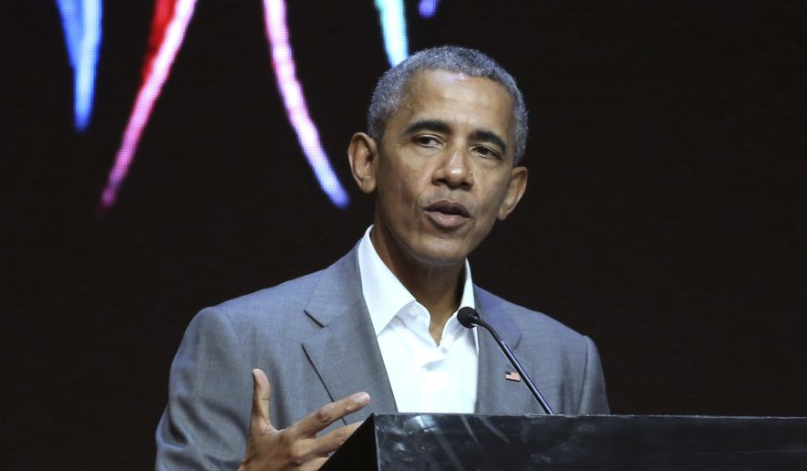 Former U.S. President Barack Obama delivers his speech during the 4th Congress of Indonesian Diaspora Network in Jakarta, Indonesia, Saturday, July 1, 2017. (AP Photo/Achmad Ibrahim) ** FILE **