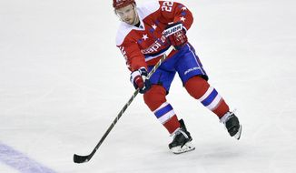 FILE - In this March 23, 2017, file photo, Washington Capitals defenseman Kevin Shattenkirk (22) passes the puck during the third period of an NHL hockey game against the Columbus Blue Jackets in Washington. The New York Rangers have signed the top free agent on the market, defenseman Kevin Shattenkirk, on Saturday, july 1, 2017.  (AP Photo/Nick Wass, File)