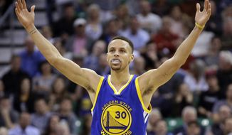FILE - In this March 30, 2016, file photo, Golden State Warriors guard Stephen Curry celebrates during overtime in an NBA basketball game against the Utah Jazz in Salt Lake City. One of the NBA's biggest bargains until now, Curry is about to receive his massive payday.  Golden State general manager Bob Myers said Friday, June 30, 2017, the Warriors will finalize a contract with the two-time MVP once the free agency moratorium ends July 6.  (AP Photo/Rick Bowmer, File)