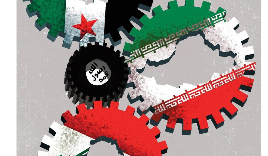Illustration on a coming Middle East alignment by Linas Garsys/The Washington Times