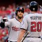 Washington Nationals outfielder Bryce Harper and second baseman Daniel Murphy were elected to start the All-Star Game on July 11. Harper led all fan voting. (Associated Press)