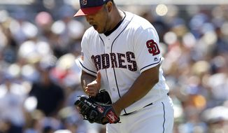 San Diego Padres starting pitcher Jhoulys Chacin reacts after getting the third out during the third inning of a baseball game against the Los Angeles Dodgers in San Diego, Sunday, July 2, 2017. (AP Photo/Alex Gallardo)