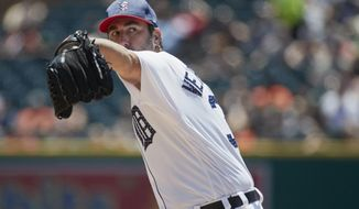 Detroit Tigers starting pitcher Justin Verlander delivers against the Cleveland Indians in the second inning of a baseball game in Detroit, Sunday, July 2, 2017. (AP Photo/Rick Osentoski)