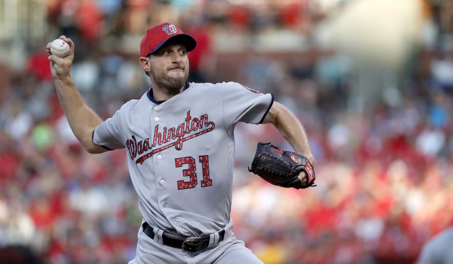 Washington Nationals starting pitcher Max Scherzer throws during the second inning of a baseball game against the St. Louis Cardinals, Sunday, July 2, 2017, in St. Louis. (AP Photo/Jeff Roberson)