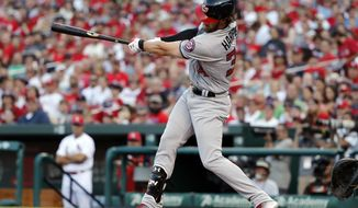 Washington Nationals' Bryce Harper follows through on a two-run home run during the first inning of a baseball game against the St. Louis Cardinals, Sunday, July 2, 2017, in St. Louis. (AP Photo/Jeff Roberson)