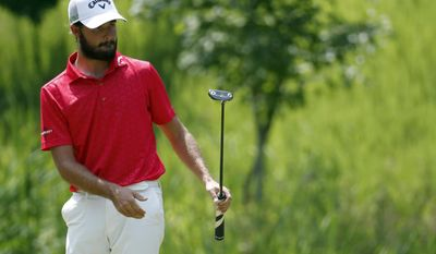 Curtis Luck reacts after his putt on the sixth green during the Quicken Loans National golf tournament, Sunday, July 2, 2017, in Potomac, Md. (AP Photo/Alex Brandon)
