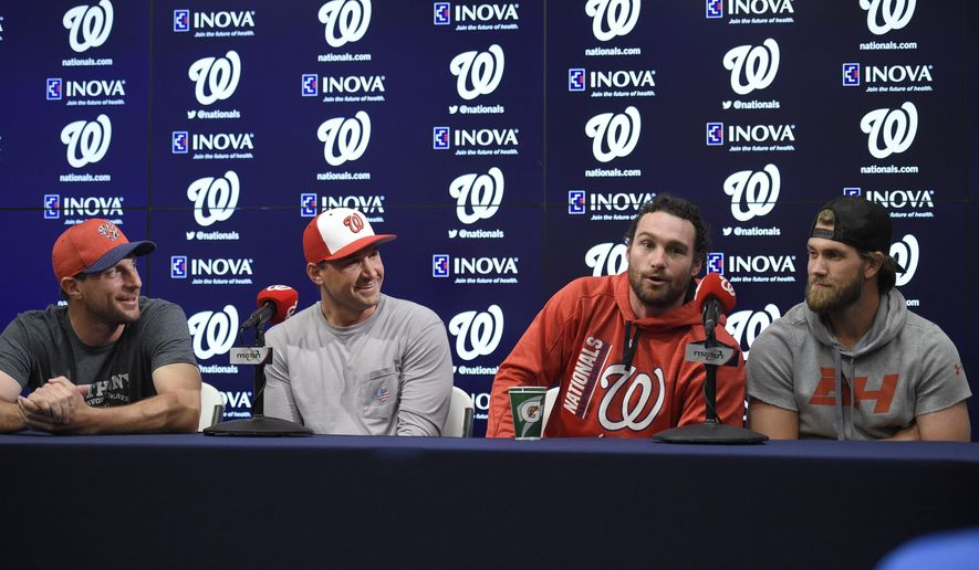 Four of five of the Washington Nationals All-Stars from left to right, Max Scherzer, Ryan Zimmerman, Daniel Murphy and Bryce Harper speak during a press conference before a baseball game against the New York Mets, Monday, July 3, 2017, in Washington. (AP Photo/Nick Wass)