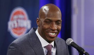 "FILE - In this Feb. 10, 2016, file photo, former Detroit Pistons player Chauncey Billups addresses the media in Auburn Hills, Mich. Billups has withdrawn his name from the Cleveland Cavaliers' search for a new general manager. He released a statement to ESPN on Monday, July 4, 2017, saying that ""the timing isn't right"" to take the job in Cleveland. (AP Photo/Carlos Osorio, File)"