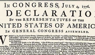 A copy of the Declaration of Independence