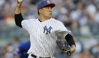 New York Yankees starting pitcher Masahiro Tanaka delivers during the first inning of a baseball game against the Toronto Blue Jays in New York, Monday, July 3, 2017. (AP Photo/Kathy Willens)