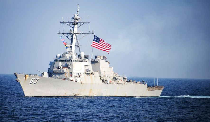 In this March 22, 2017, file photo provided by U.S. Navy, U.S. Navy destroyer USS Stethem transits waters east of the Korean Peninsula during a photo exercise including the U.S. Navy and South Korean Navy during the Operation Foal Eagle. (Mass Communication Specialist 3rd Class Kurtis A. Hatcher/U.S. Navy via AP) ** FILE **