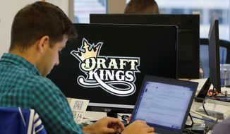 Online fantasy sports brokers FanDuel and DraftKings proposed to merge, but the union has been blocked over antitrust concerns. (Associated Press)