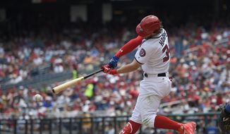 Washington Nationals' Bryce Harper bats during a baseball game against the New York Mets, Tuesday, July 4, 2017, in Washington. (AP Photo/Nick Wass)