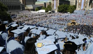 In this Wednesday, May 17, 2017, file photo, graduating students fill the Columbia University campus during a graduation ceremony in New York. (AP Photo/Seth Wenig, File)