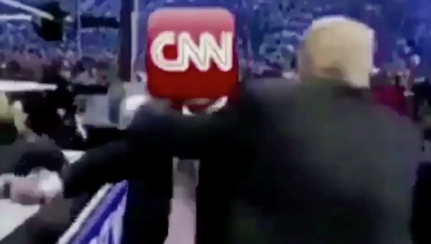 A doctored video of Donald Trump attacking WWE chief Vince McMahon, with the CNN logo superimposed over Mr. McMahon's face. (twitter.com/@realdonaldtrump) **FILE**