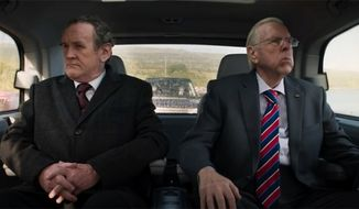 "Colm Meaney (left) and Timothy Spall in a scene from ""The Journey.""  (The Irish Post)"