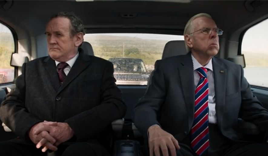 """Colm Meaney (left) and Timothy Spall in a scene from """"The Journey.""""  (The Irish Post)"""