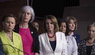 "From left, Rep. Nydia Velazquez, D-NY, Rep. Katherine Clark, D-Mass., Rep. Barbara Lee, D-Calif., House Minority Leader Nancy Pelosi, D-Calif., Rep. Pramila Jayapal, D-Wash., Rep. Susan Davis, D-Calif., and Rep. Jan Schakowsky, D-Ill., gather in unity to speak out against President Donald Trump's tweet about a female cable TV anchor during a news conference, at the Capitol in Washington, Thursday, June 29, 2017. Earlier, Pelosi called it ""so beneath the dignity of the president of the United States to engage in such behavior."" (AP Photo/J. Scott Applewhite)"