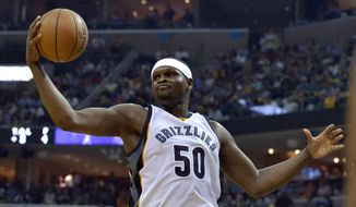 In this April 20, 2017, file photo, Memphis Grizzlies forward Zach Randolph reaches for the ball during the second half against the San Antonio Spurs in Game 3 of an NBA basketball first-round playoff series in Memphis, Tenn. (AP Photo/Brandon Dill, File0