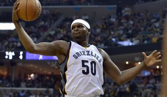 FILE - In this April 20, 2017, file photo, Memphis Grizzlies forward Zach Randolph reaches for the ball during the second half against the San Antonio Spurs in Game 3 of an NBA basketball first-round playoff series in Memphis, Tenn. A person with knowledge of the agreement tells The Associated Press that the Sacramento Kings have agreed to a two-year, $24 million deal with forward Zach Randolph.  The sides came to agreement on Tuesday, July 4, 2017, reuniting Randolph with former Grizzlies coach Dave Joerger, now the coach in Sacramento. The person spoke to the AP on condition of anonymity because the deal cannot be signed until Thursday. (AP Photo/Brandon Dill, File0