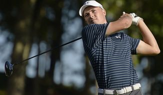 FILE - In a Sunday, June 25, 2017 file photo, Jordan Spieth hits off the 18th tee during a playoff in the final round of the Travelers Championship golf tournament, in Cromwell, Conn. Spieth says he wants to build a reputation for being a good closer in golf. (AP Photo/Jessica Hill, File)