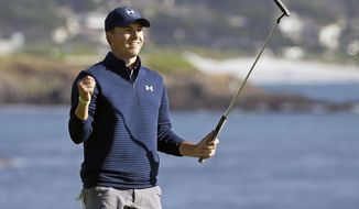 FILE - In a Sunday, Feb. 12, 2017 file photo, Jordan Spieth reacts on the 18th green of the Pebble Beach Golf Links after winning the AT&T Pebble Beach National Pro-Am golf tournament, in Pebble Beach, Calif. Spieth says  he wants to build a reputation for being a good closer in golf.  (AP Photo/Eric Risberg, File)