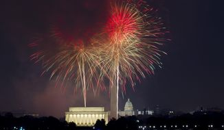 Fireworks explode over Lincoln Memorial, Washington Monument and U.S. Capitol building at the National Mall in Washington, Tuesday, July 4, 2017, during the Fourth of July celebration. (AP Photo/Jose Luis Magana) **FILE**