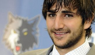 FILe - In ttis June 21, 2011, file photo, Ricky Rubio of Spain, the Minnesota Timberwolves 2009 first round draft pick, meets the media during an introductory basketball news conference in Minneapolis. After six years in Minnesota, Ricky Rubio is saying goodbye. The seemingly endless rumors finally came to fruition when he was traded to the Utah Jazz last week. (AP Photo/Jim Mone, File)