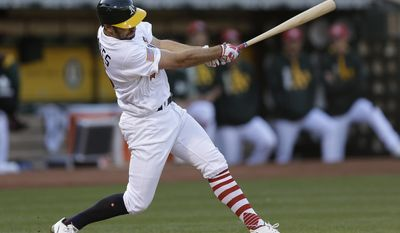 Oakland Athletics' Adam Rosales swings for a two run single off Chicago White Sox pitcher Carlos Rodon in the second inning of a baseball game Monday, July 3, 2017, in Oakland, Calif. (AP Photo/Ben Margot)