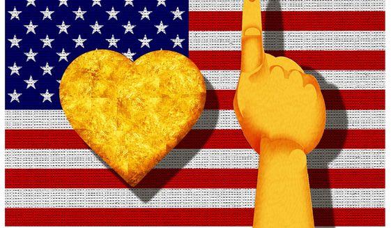 Illustration on patriotism and nationalism by Alexander Hunter/The Washington Times