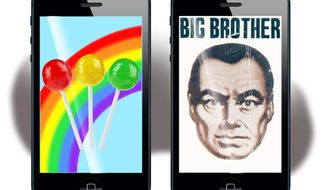 Illustration on two futures of the iPhone by Alexander Hunter/The Washington Times