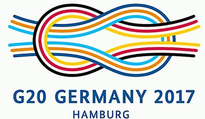 The official logo of the G20 Summit, which begins Friday in Germany, amid much negative coverage of President Trump, who will attend. (G20.org)