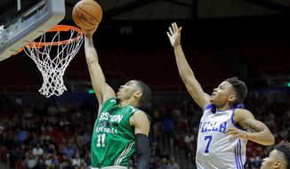 Boston Celtics forward Jayson Tatum will also be used at guard while the Philadelphia 76ers will play Markelle Fultz at both point and shooting guard this season. (Associated Press)