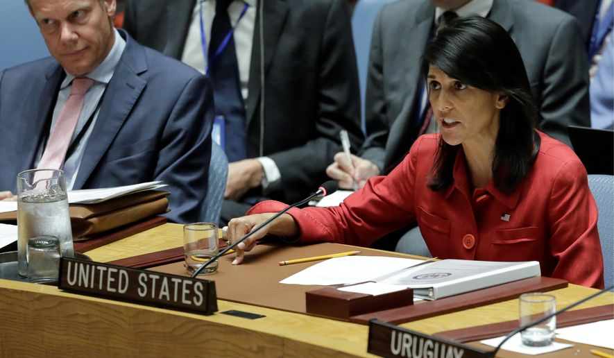 Nikki Haley, ambassador to the United Nations, who said the U.S. would not rule out a military response and was preparing a package of punishments for the Security Council to consider. (Associated Press/File)