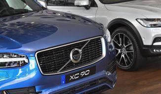 A Volvo XC 90 is shown at the Volvo Cars Showroom in Stockholm, Sweden, Wednesday, July 5, 2017. (Jonas Ekströmer/TT via AP) ** FILE **