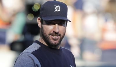 Detroit Tigers starting pitcher Justin Verlander looks out from the dugout before the team's baseball game against the San Francisco Giants, Wednesday, July 5, 2017, in Detroit. Verlander is a rarity in baseball these days. A veteran in his 13th season who has played for only one franchise the entire time. His future in Detroit, once so secure, has become increasingly uncertain. (AP Photo/Carlos Osorio)