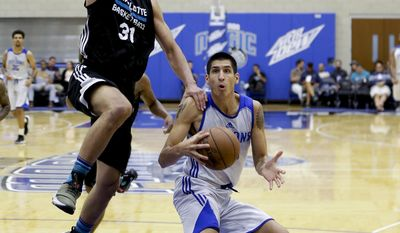 Detroit Pistons' Derek Willis, right, reverses his direction as Charlotte Hornets' Anthony Gill (31) comes in to defend during the second half of an NBA summer league basketball game, Wednesday, July 5, 2017, in Orlando, Fla. (AP Photo/John Raoux)
