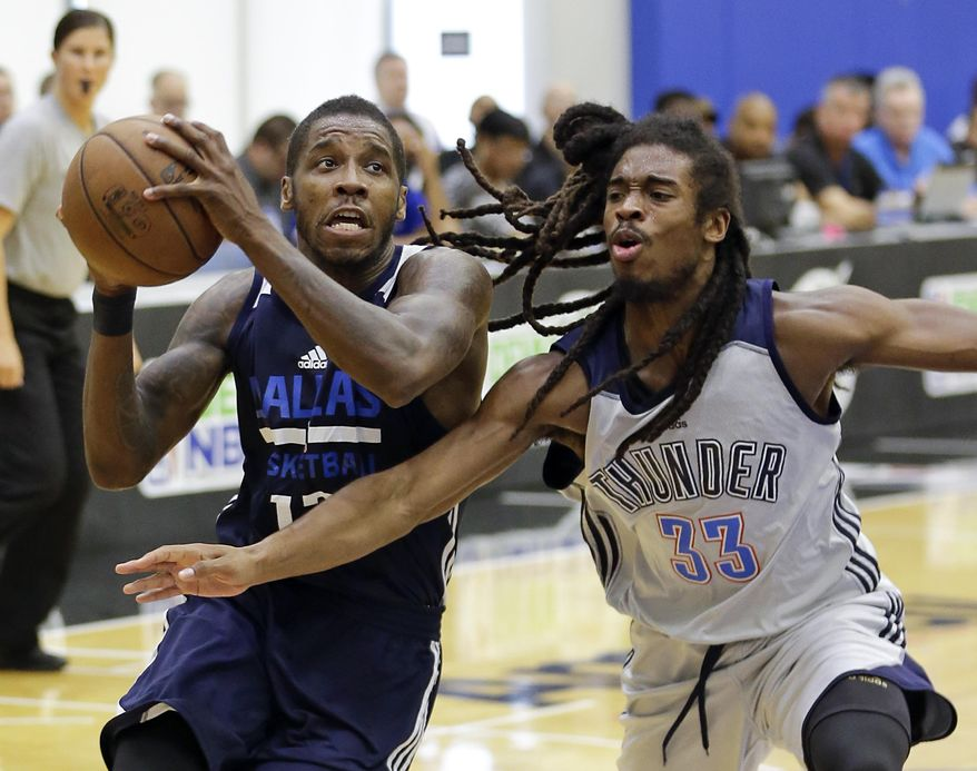 Dallas Mavericks' Dwight Buycks, left, drives to the basket against Oklahoma City Thunder's Marcus Thornton (33) during the first half of an NBA summer league basketball game, Wednesday, July 5, 2017, in Orlando, Fla. (AP Photo/John Raoux)