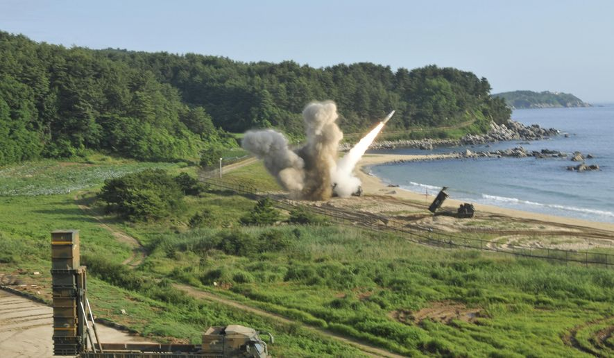 "In this photo provided by Eighth U.S. Army, a U.S. MGM-140 Army Tactical Missile is fired into the east sea during the combined military exercise against North Korea at an undisclosed location in South Korea, Wednesday, July 5, 2017. North Korea delighted in the international furor created by its first launch of an intercontinental ballistic missile, vowing Wednesday to never give up its missiles or nuclear weapons and to keep sending Washington more ""gift packages"" of weapons tests. U.S. and South Korean forces, in response, engineered what was meant as a show of force for Pyongyang, with soldiers from the allied nations firing ""deep strike"" precision missiles into South Korean territorial waters. The missile firings Tuesday demonstrated U.S.-South Korean solidarity, the U.S. Eighth Army said in a statement. (Eighth U.S. Army via AP)"