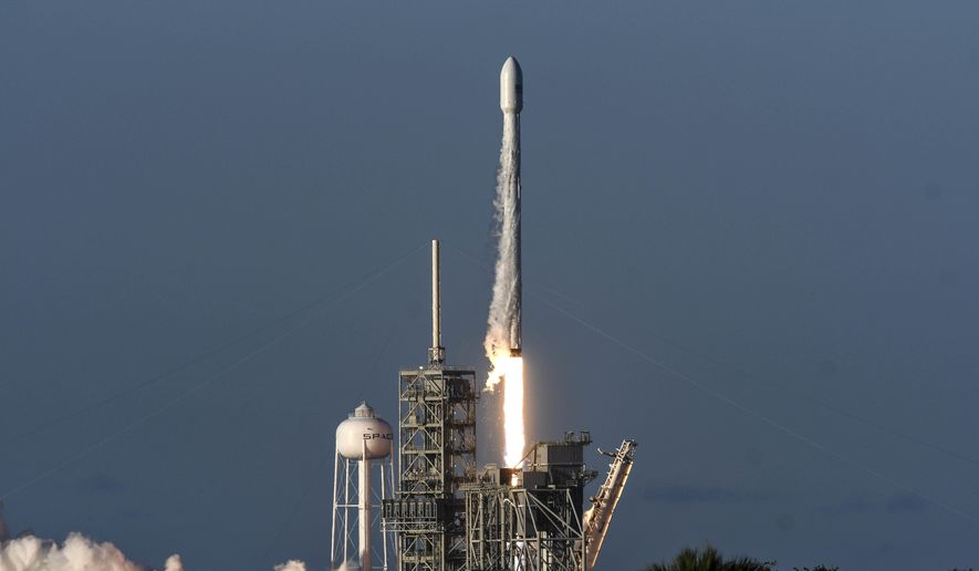A SpaceX Falcon 9 rocket lifts off from Kennedy Space Center in Cape Canaveral, Fla., Wednesday, July 5, 2017. SpaceX launched an Intelsat satellite on the third try on Wednesday. (Craig Bailey /Florida Today via AP)