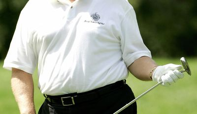 FILE - In this Aug. 31, 2006, file photo, Donald Trump watches his putt on the fifth hole during a Pro-Am round at the Deutsche Bank Championship golf tournament at the TPC of Boston in Norton, Mass. A set of golf clubs that Donald Trump gifted to a former caddie before becoming president is being auctioned off. Boston-based RR Auction says Trump used the TaylorMade RAC TP ForgedIrons clubs at the Trump National Golf Club in Bedminster, N.J.(AP Photo/Charles Krupa)