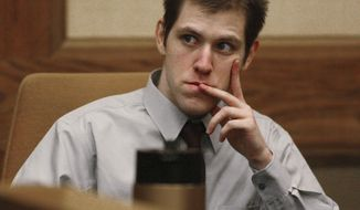 FILE - In this Thursday March 29, 2007, file photo, William Morva watches as prospective jury members are interviewed to serve in his attempted robbery trial in Montgomery County Circuit Court in Christiansburg, Va. Morva is scheduled to receive a lethal injection Thursday, July 6, 2017, for the killings of a hospital security guard and a sheriff's deputy in 2006. Morva's attorneys and mental health advocates are calling on Virginia Gov. Terry McAuliffe to spare his life. (Matt Gentry/The Roanoke Times via AP, File)
