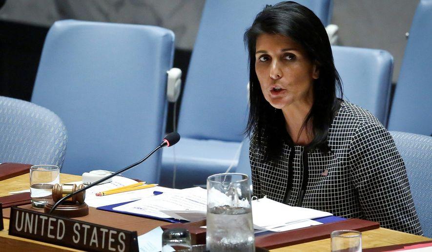 U.S. Ambassador to the United Nations Nikki Haley       Associated Press photo