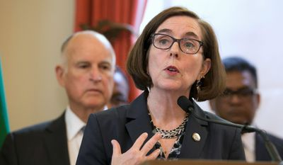 """Oregon Gov. Kate Brown backs a bill requiring insurers to provide free abortions. """"The ability to control our bodies and make informed decisions about health are critical to providing all Oregonians the opportunity to achieve our full potential,"""" she said. (Associated Press) **FILE**"""