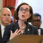 "Oregon Gov. Kate Brown backs a bill requiring insurers to provide free abortions. ""The ability to control our bodies and make informed decisions about health are critical to providing all Oregonians the opportunity to achieve our full potential,"" she said. (Associated Press) **FILE**"