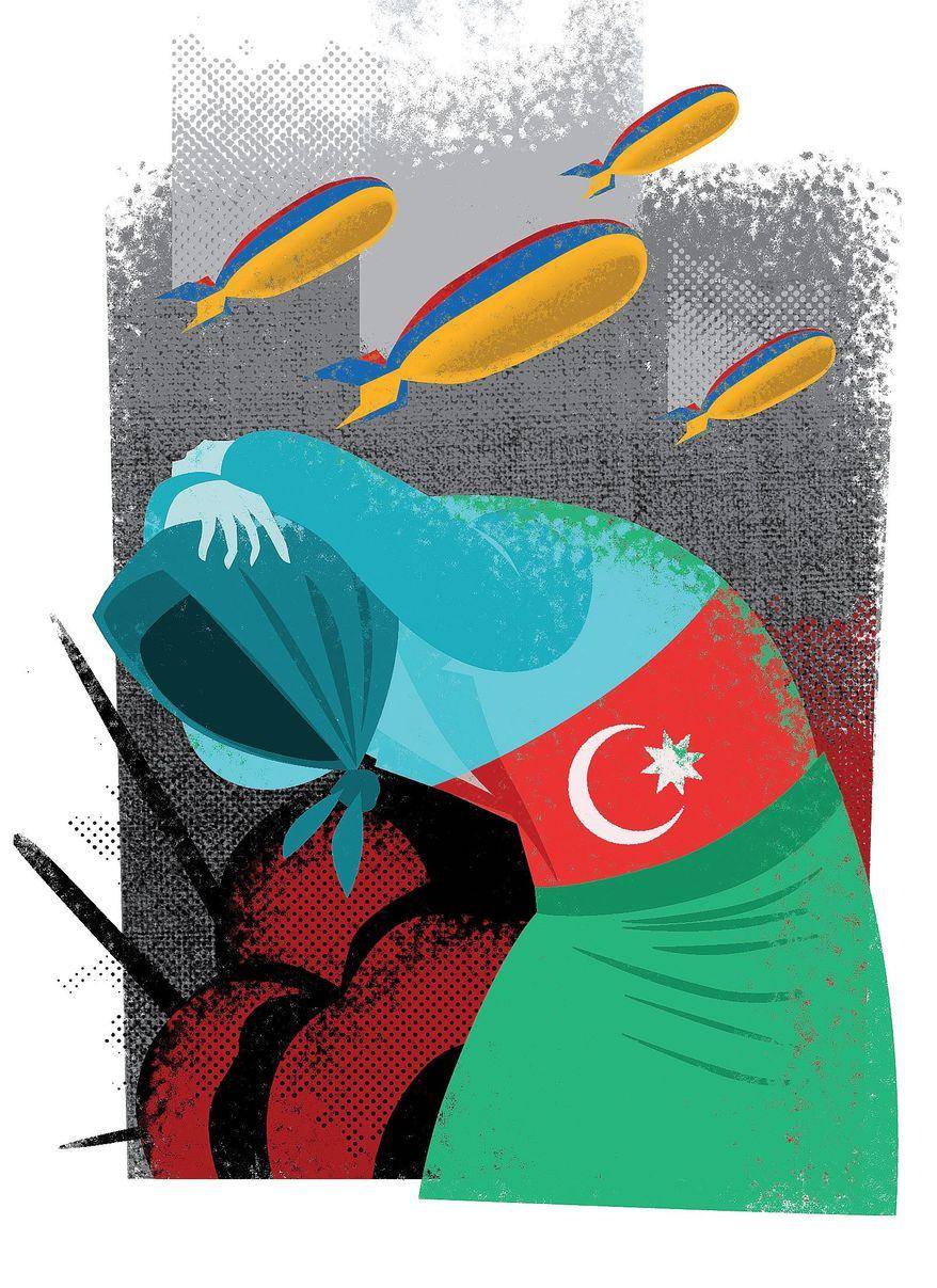 Illustration on Armenia's attack on Azerbaijani civilians by Linas Garsys/The Washington Times