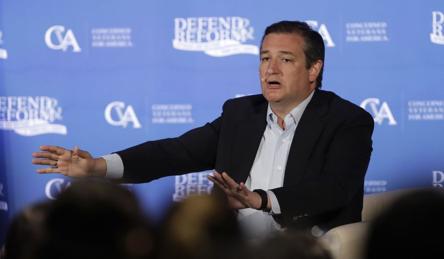 Sen. Ted Cruz, R-Texas, answers a question as he holds a town hall meeting Thursday, July 6, 2017, in Austin, Texas. (AP Photo/Eric Gay) ** FILE **