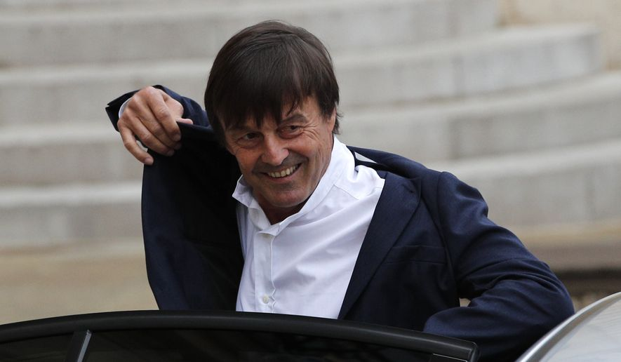 Environment Minister Nicolas Hulot arrives for the first weekly cabinet meeting under new French President Emmanuel Macron, at the Elysee Palace in Paris, May 18, 2017. (AP Photo/Christophe Ena) ** FILE **