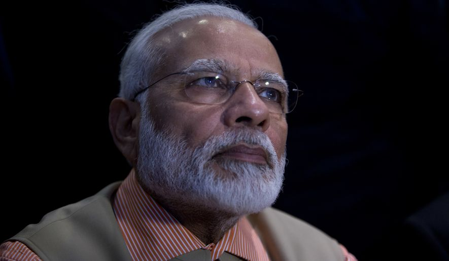 Indian Prime Minister Narendra Modi, attends an Innovation conference with Israeli and Indian CEOs, in Tel Aviv, Israel, Thursday, July 6, 2017. (AP Photo/Oded Balilty, Pool)